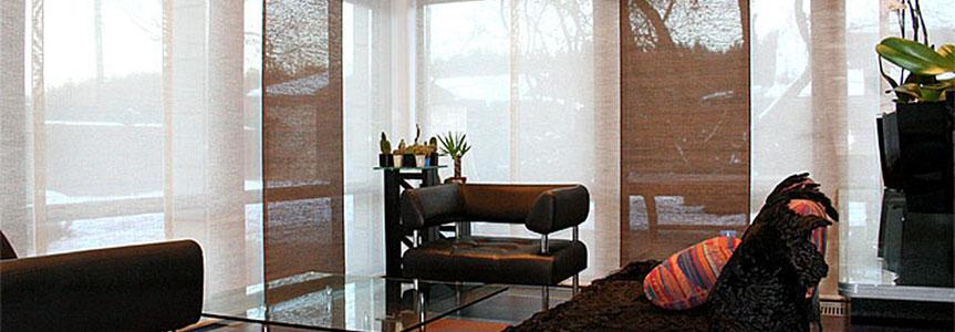 Японские шторы-панели для гостиной